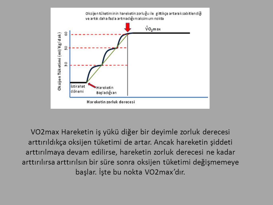 VO2max Hareketin iş yükü diğer bir deyimle zorluk derecesi arttırıldıkça oksijen tüketimi de artar.