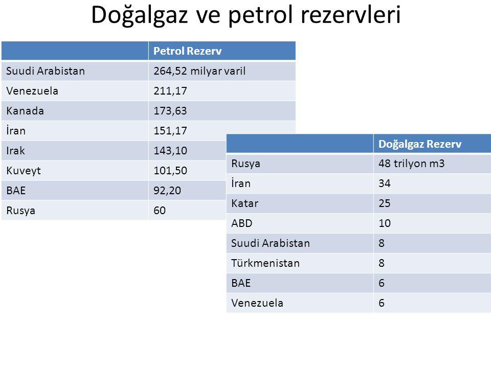 Doğalgaz ve petrol rezervleri