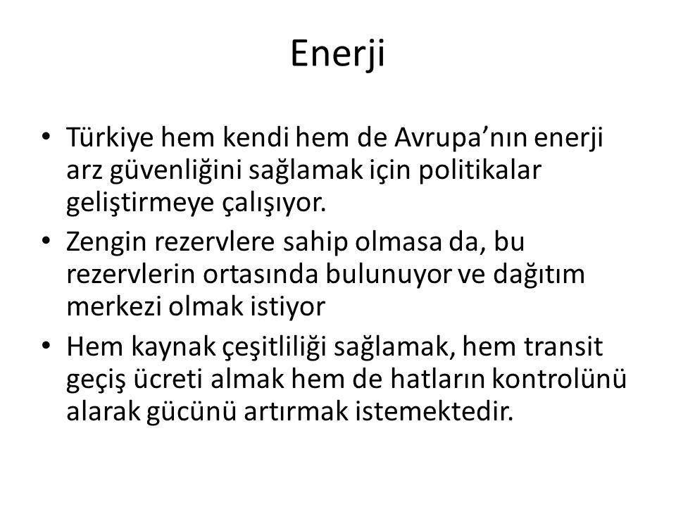 Enerji Türkiye hem kendi hem de Avrupa'nın enerji arz güvenliğini sağlamak için politikalar geliştirmeye çalışıyor.