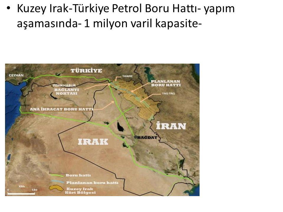 Kuzey Irak-Türkiye Petrol Boru Hattı- yapım aşamasında- 1 milyon varil kapasite-