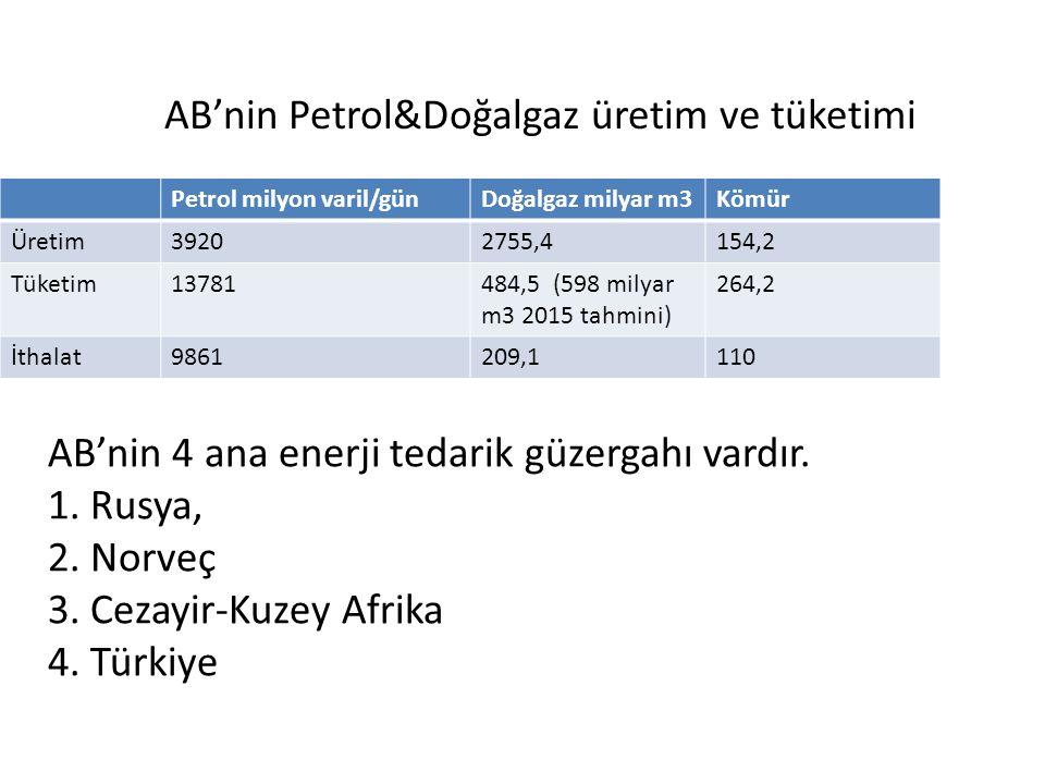 AB'nin Petrol&Doğalgaz üretim ve tüketimi