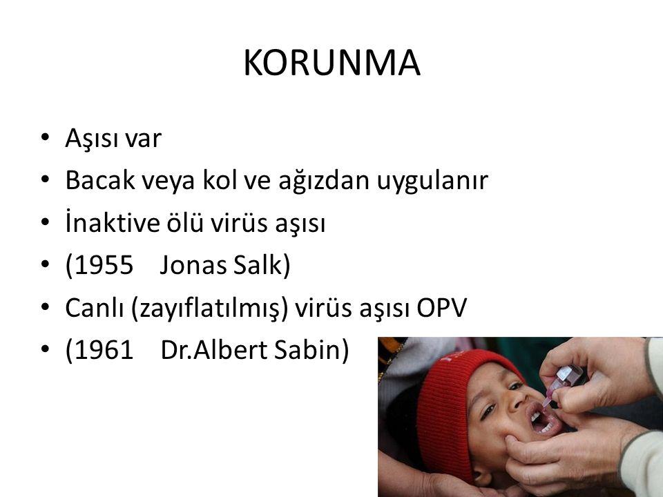 KORUNMA Aşısı var Bacak veya kol ve ağızdan uygulanır