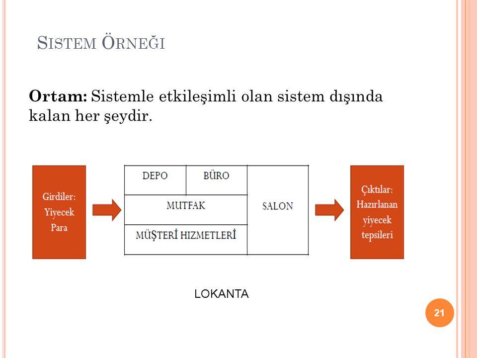 Sistem Örneği Ortam: Sistemle etkileşimli olan sistem dışında kalan her şeydir. LOKANTA