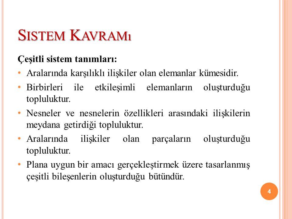 Sistem Kavramı Çeşitli sistem tanımları: