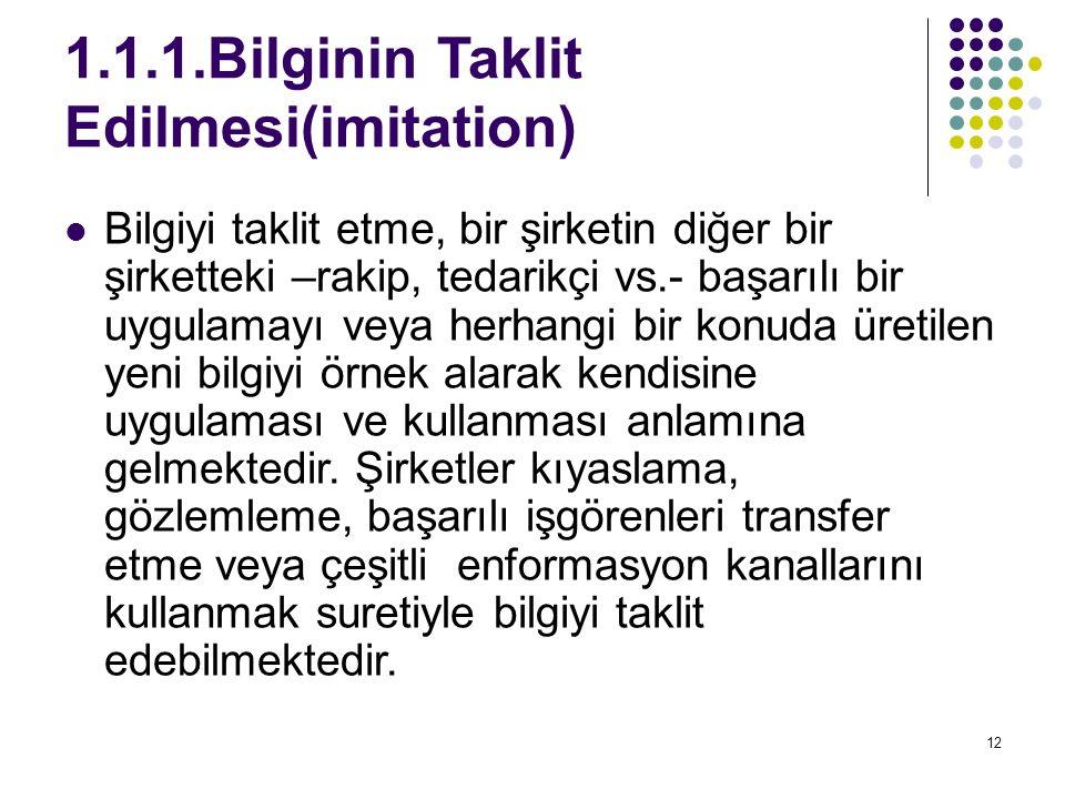 1.1.1.Bilginin Taklit Edilmesi(imitation)