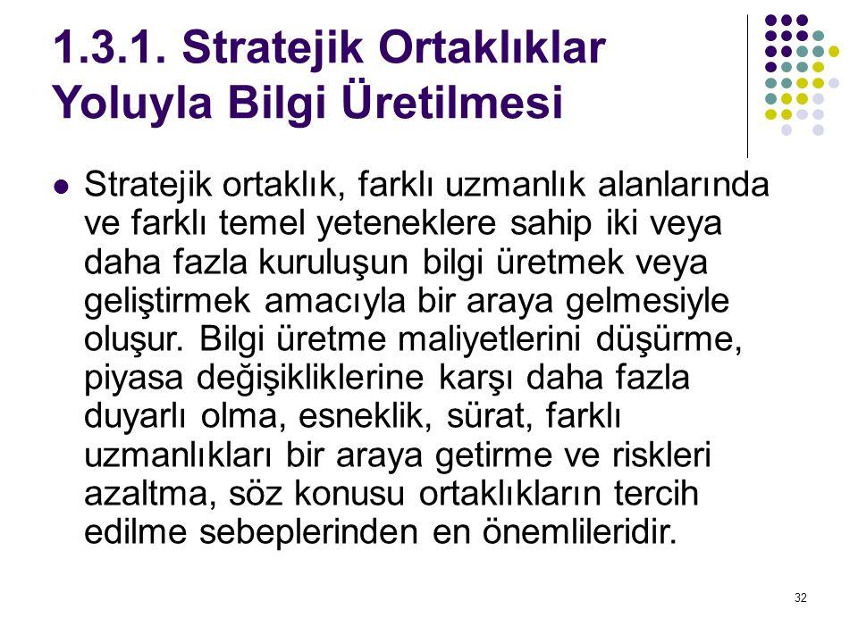 1.3.1. Stratejik Ortaklıklar Yoluyla Bilgi Üretilmesi