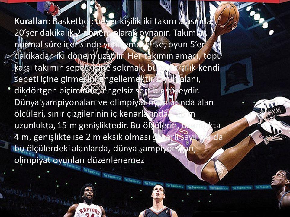 Kuralları: Basketbol; beşer kişilik iki takım arasında, 20'şer dakikalık 2 dönem olarak oynanır.
