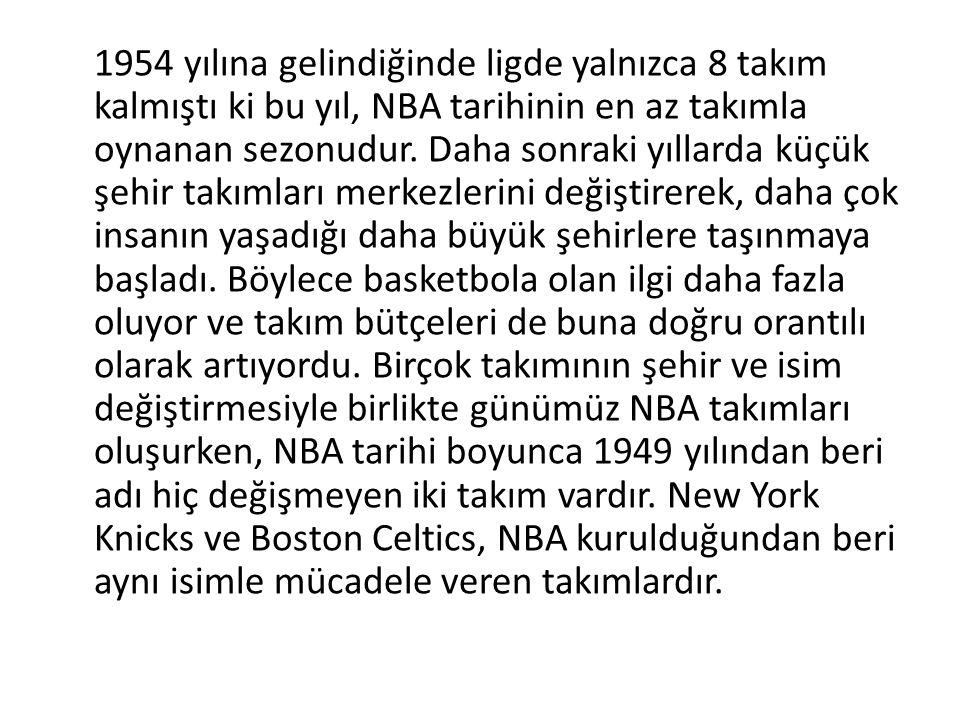 1954 yılına gelindiğinde ligde yalnızca 8 takım kalmıştı ki bu yıl, NBA tarihinin en az takımla oynanan sezonudur.