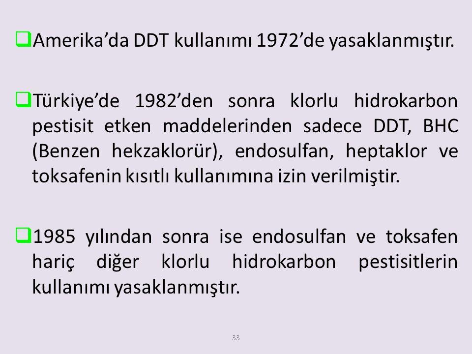 Amerika'da DDT kullanımı 1972'de yasaklanmıştır.