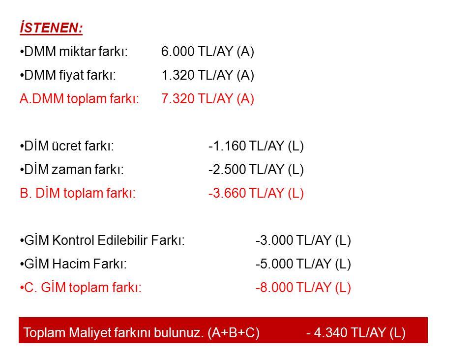 İSTENEN: DMM miktar farkı: 6.000 TL/AY (A) DMM fiyat farkı: 1.320 TL/AY (A) DMM toplam farkı: 7.320 TL/AY (A)