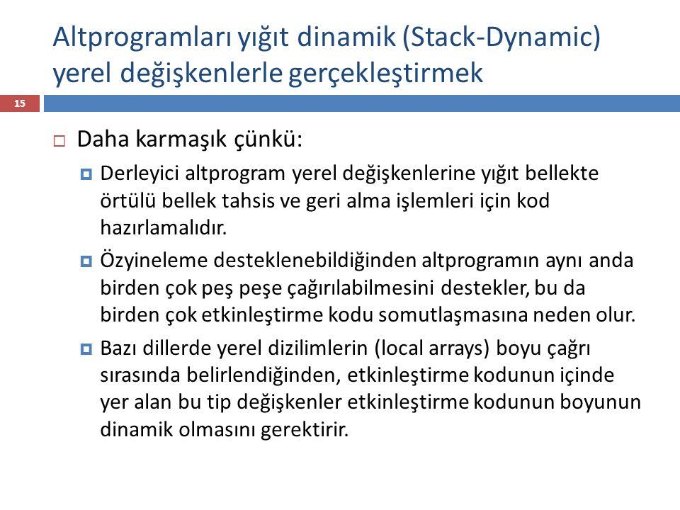 Altprogramları yığıt dinamik (Stack-Dynamic) yerel değişkenlerle gerçekleştirmek