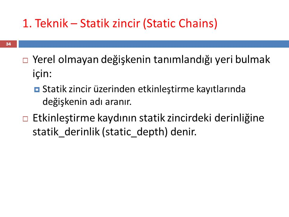 1. Teknik – Statik zincir (Static Chains)