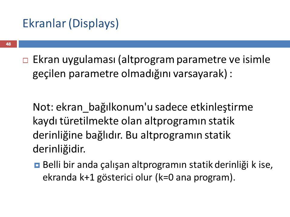 Ekranlar (Displays) Ekran uygulaması (altprogram parametre ve isimle geçilen parametre olmadığını varsayarak) :