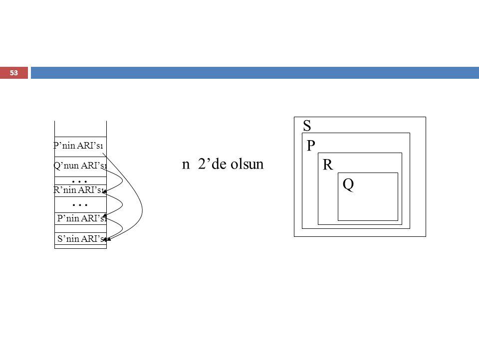 … … S P R n 2'de olsun Q P'nin ARI'sı Q'nun ARI'sı R'nin ARI'sı