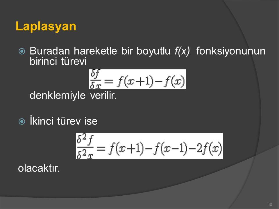 Laplasyan Buradan hareketle bir boyutlu f(x) fonksiyonunun birinci türevi denklemiyle verilir. İkinci türev ise