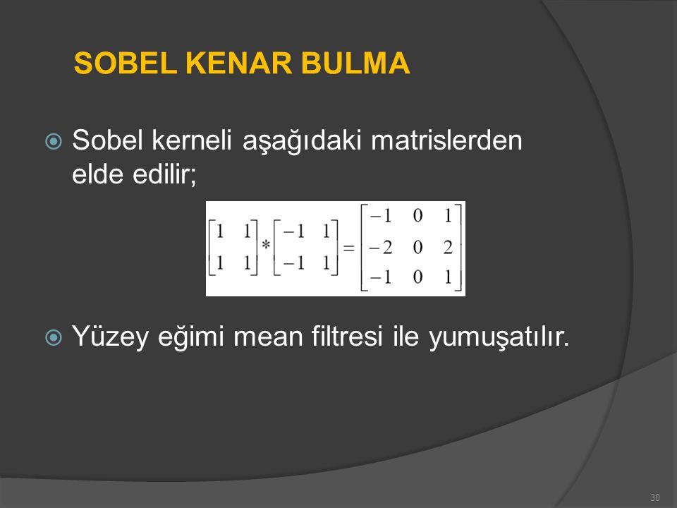 SOBEL KENAR BULMA Sobel kerneli aşağıdaki matrislerden elde edilir;