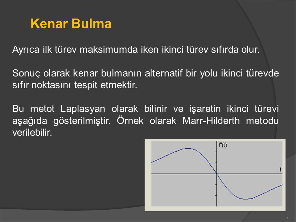 Kenar Bulma Ayrıca ilk türev maksimumda iken ikinci türev sıfırda olur.