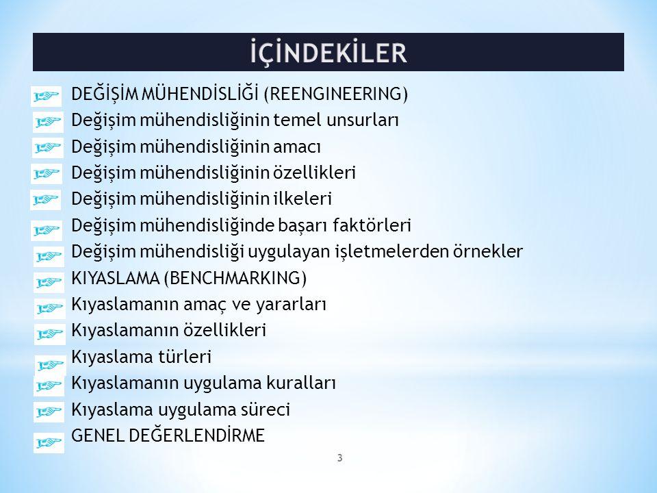 İÇİNDEKİLER DEĞİŞİM MÜHENDİSLİĞİ (REENGINEERING)