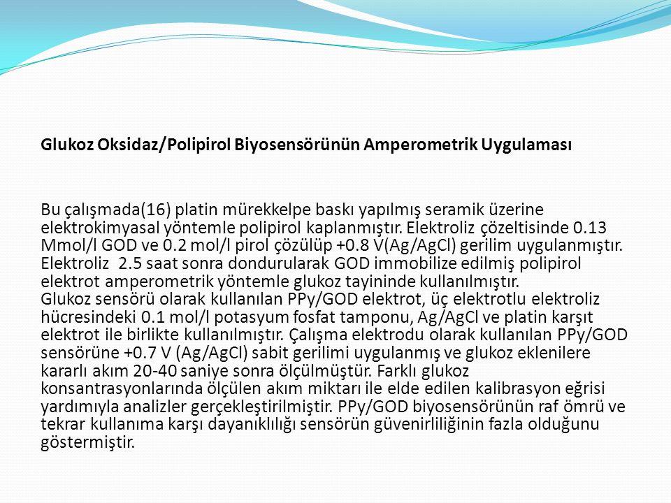 Glukoz Oksidaz/Polipirol Biyosensörünün Amperometrik Uygulaması Bu çalışmada(16) platin mürekkelpe baskı yapılmış seramik üzerine elektrokimyasal yöntemle polipirol kaplanmıştır.