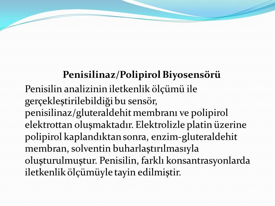 Penisilinaz/Polipirol Biyosensörü Penisilin analizinin iletkenlik ölçümü ile gerçekleştirilebildiği bu sensör, penisilinaz/gluteraldehit membranı ve polipirol elektrottan oluşmaktadır.