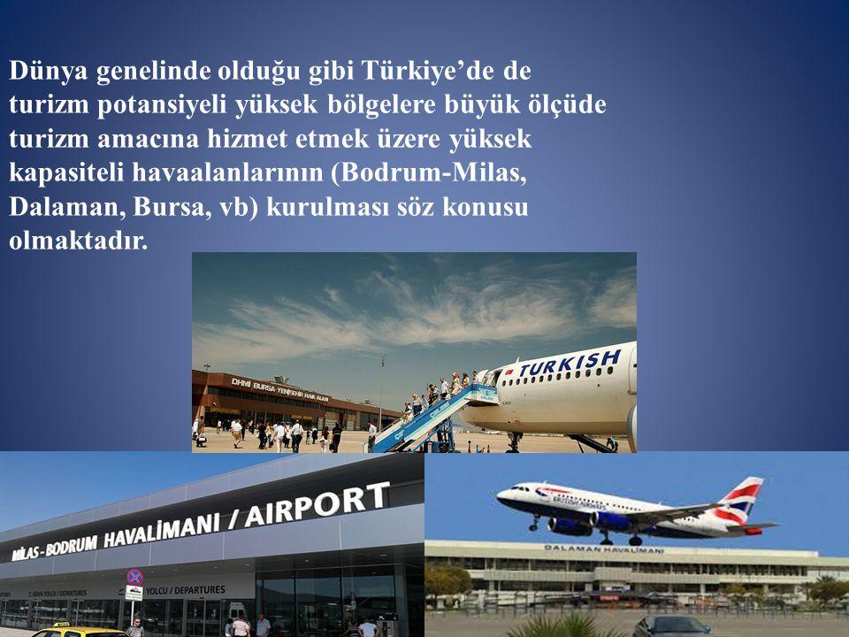 Dünya genelinde olduğu gibi Türkiye'de de turizm potansiyeli yüksek bölgelere büyük ölçüde turizm amacına hizmet etmek üzere yüksek kapasiteli havaalanlarının (Bodrum-Milas, Dalaman, Bursa, vb) kurulması söz konusu olmaktadır.