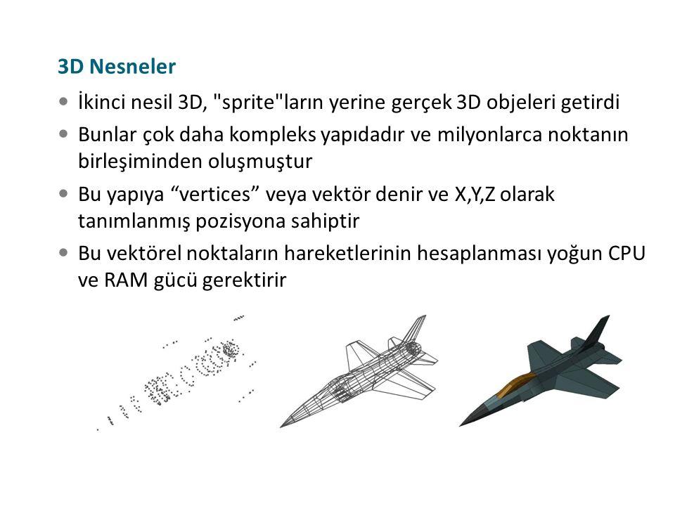 3D Nesneler İkinci nesil 3D, sprite ların yerine gerçek 3D objeleri getirdi.