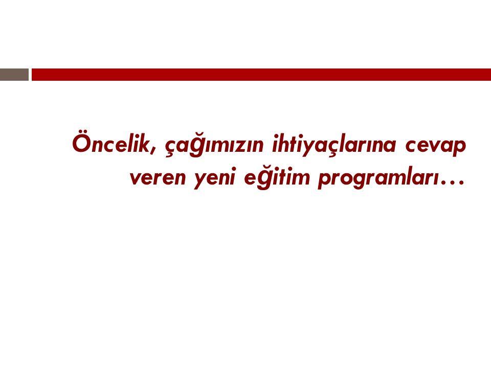 Öncelik, çağımızın ihtiyaçlarına cevap veren yeni eğitim programları…