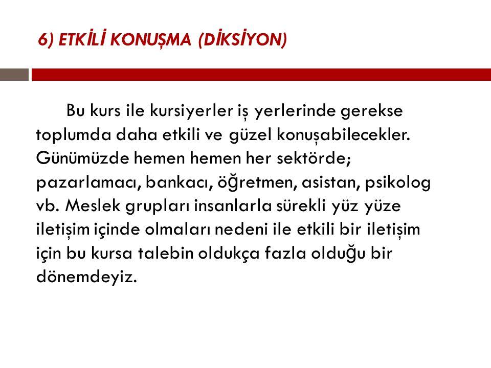 6) ETKİLİ KONUŞMA (DİKSİYON)