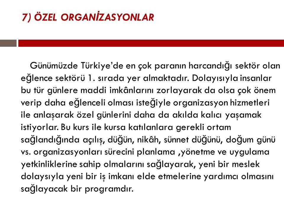 7) ÖZEL ORGANİZASYONLAR