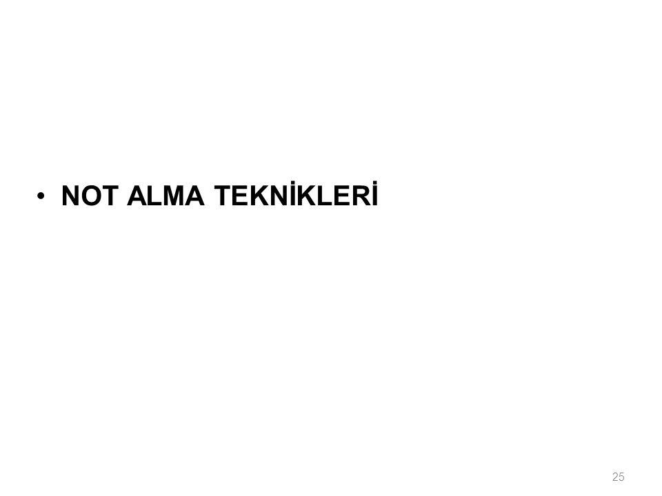 NOT ALMA TEKNİKLERİ
