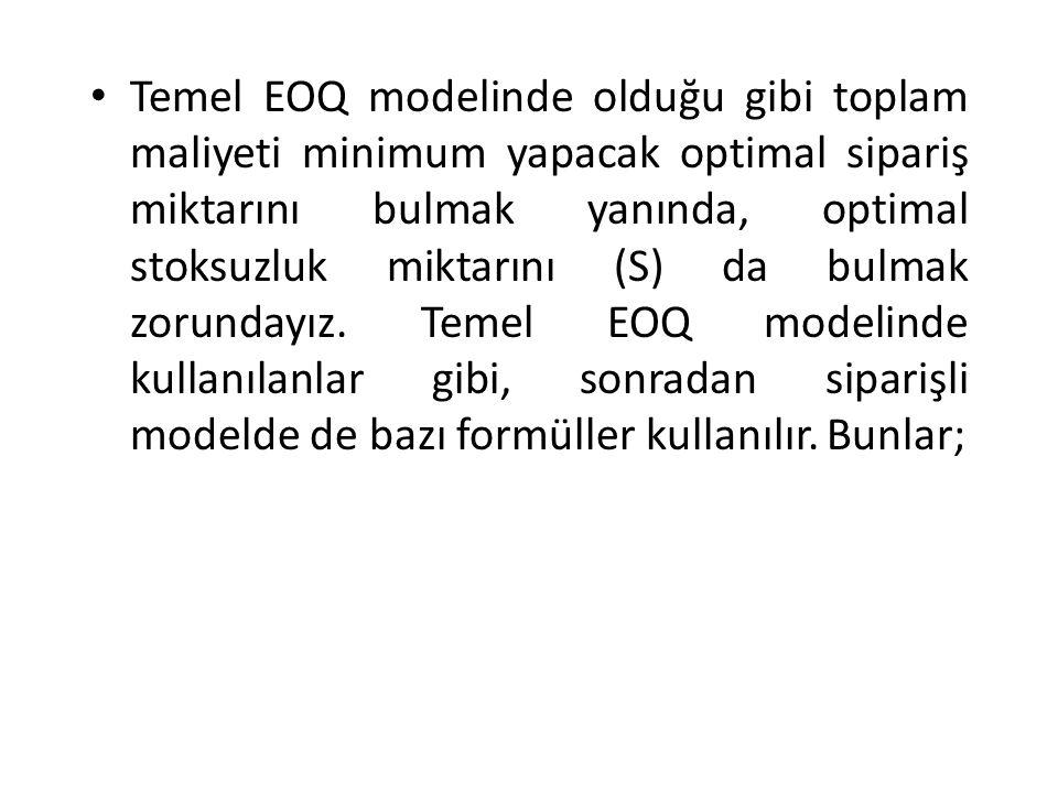 Temel EOQ modelinde olduğu gibi toplam maliyeti minimum yapacak optimal sipariş miktarını bulmak yanında, optimal stoksuzluk miktarını (S) da bulmak zorundayız.