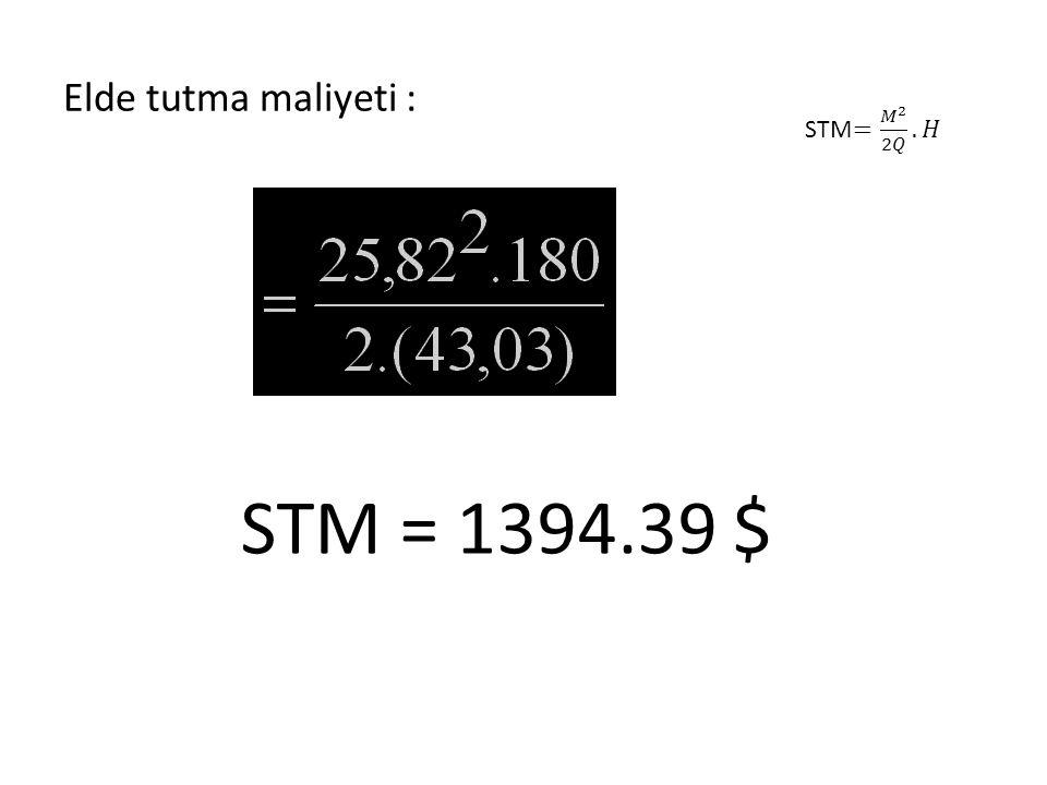Elde tutma maliyeti : STM= 𝑀 2 2𝑄 . 𝐻 STM = 1394.39 $