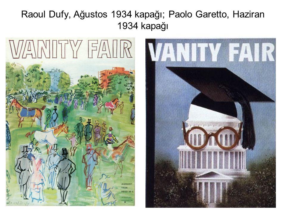Raoul Dufy, Ağustos 1934 kapağı; Paolo Garetto, Haziran 1934 kapağı