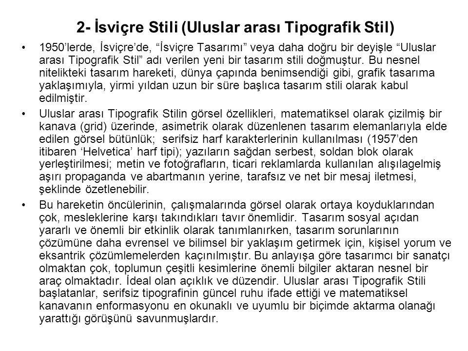2- İsviçre Stili (Uluslar arası Tipografik Stil)