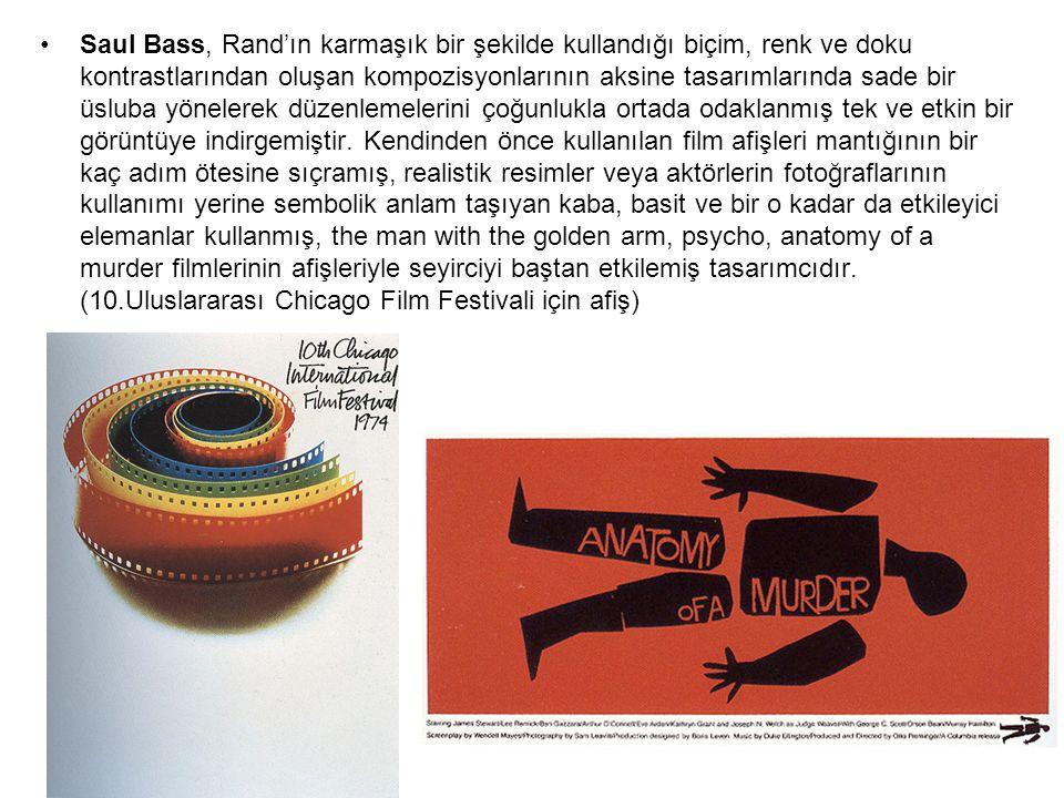 Saul Bass, Rand'ın karmaşık bir şekilde kullandığı biçim, renk ve doku kontrastlarından oluşan kompozisyonlarının aksine tasarımlarında sade bir üsluba yönelerek düzenlemelerini çoğunlukla ortada odaklanmış tek ve etkin bir görüntüye indirgemiştir.
