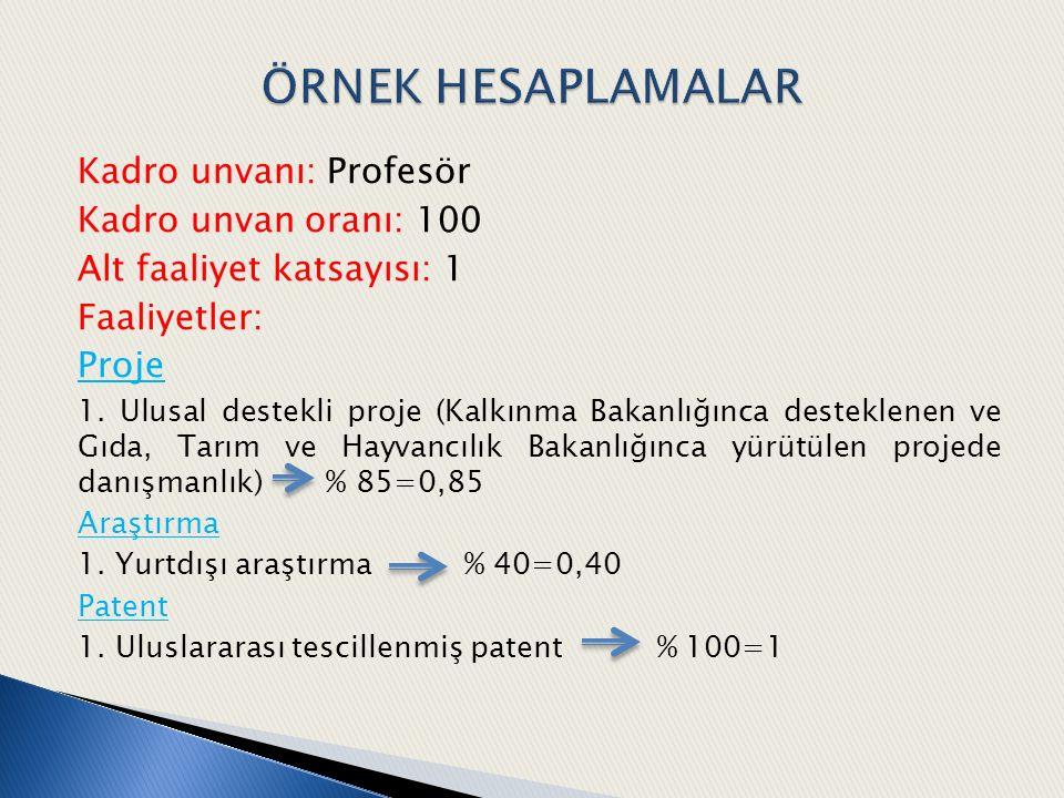 ÖRNEK HESAPLAMALAR Kadro unvanı: Profesör Kadro unvan oranı: 100