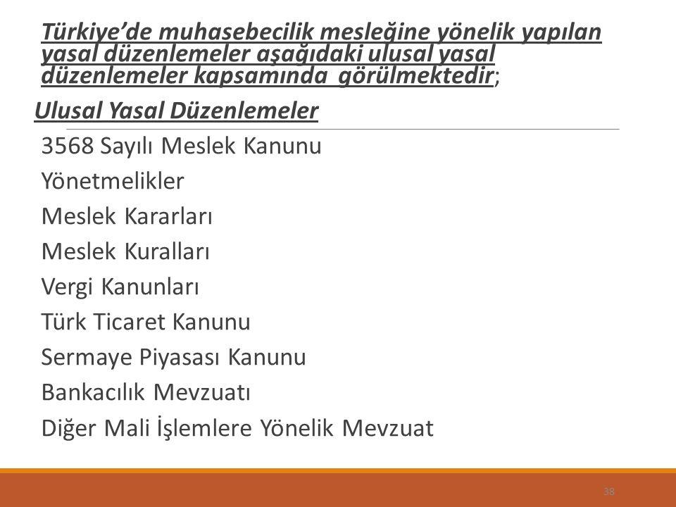 Türkiye'de muhasebecilik mesleğine yönelik yapılan yasal düzenlemeler aşağıdaki ulusal yasal düzenlemeler kapsamında görülmektedir;