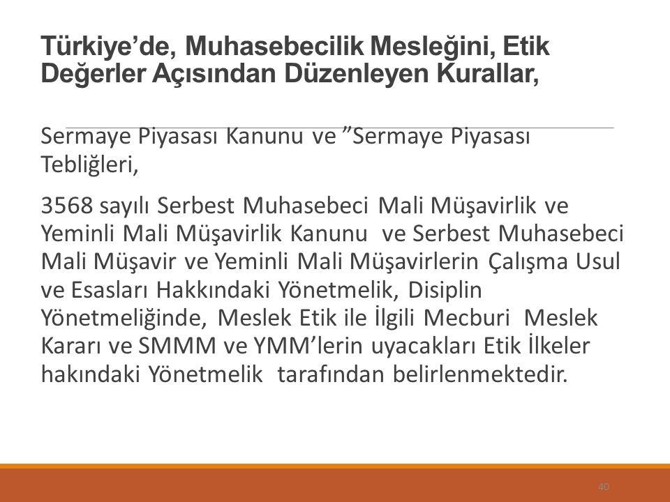 Türkiye'de, Muhasebecilik Mesleğini, Etik Değerler Açısından Düzenleyen Kurallar,
