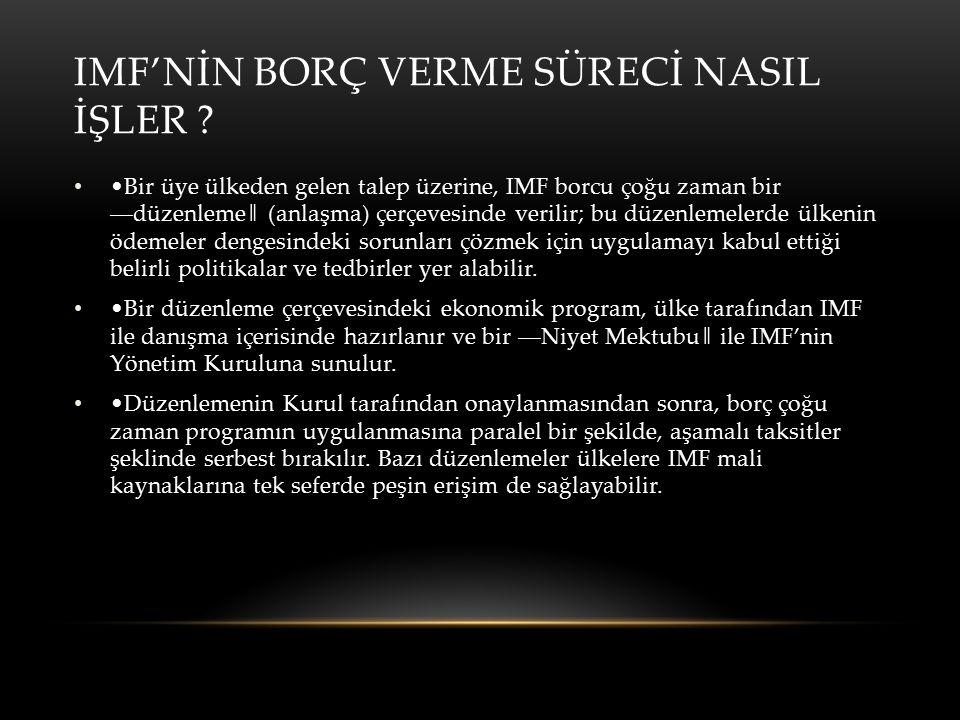 IMF'NİN BORÇ VERME SÜRECİ NASIL İŞLER