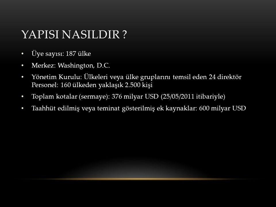 YAPISI NASILDIR Üye sayısı: 187 ülke Merkez: Washington, D.C.