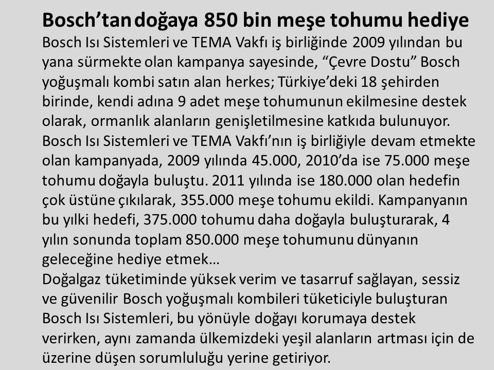 Bosch'tan doğaya 850 bin meşe tohumu hediye