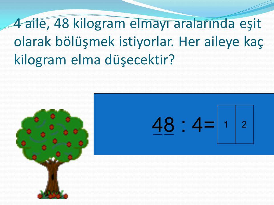 4 aile, 48 kilogram elmayı aralarında eşit olarak bölüşmek istiyorlar