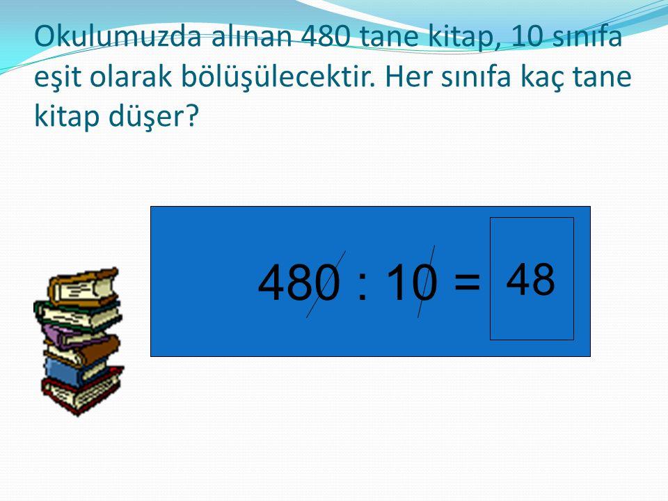Okulumuzda alınan 480 tane kitap, 10 sınıfa eşit olarak bölüşülecektir