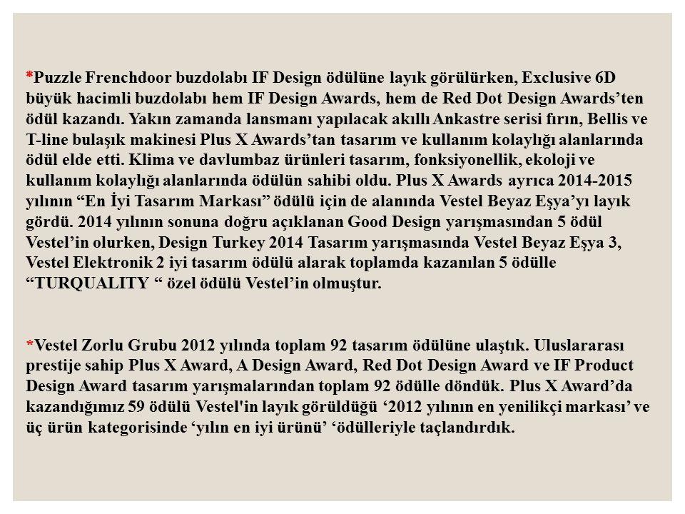 *Puzzle Frenchdoor buzdolabı IF Design ödülüne layık görülürken, Exclusive 6D büyük hacimli buzdolabı hem IF Design Awards, hem de Red Dot Design Awards'ten ödül kazandı. Yakın zamanda lansmanı yapılacak akıllı Ankastre serisi fırın, Bellis ve T-line bulaşık makinesi Plus X Awards'tan tasarım ve kullanım kolaylığı alanlarında ödül elde etti. Klima ve davlumbaz ürünleri tasarım, fonksiyonellik, ekoloji ve kullanım kolaylığı alanlarında ödülün sahibi oldu. Plus X Awards ayrıca 2014-2015 yılının En İyi Tasarım Markası ödülü için de alanında Vestel Beyaz Eşya'yı layık gördü. 2014 yılının sonuna doğru açıklanan Good Design yarışmasından 5 ödül Vestel'in olurken, Design Turkey 2014 Tasarım yarışmasında Vestel Beyaz Eşya 3, Vestel Elektronik 2 iyi tasarım ödülü alarak toplamda kazanılan 5 ödülle TURQUALITY özel ödülü Vestel'in olmuştur.