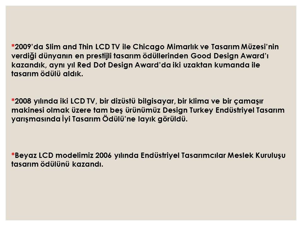 *2009'da Slim and Thin LCD TV ile Chicago Mimarlık ve Tasarım Müzesi'nin verdiği dünyanın en prestijli tasarım ödüllerinden Good Design Award'ı kazandık, aynı yıl Red Dot Design Award'da iki uzaktan kumanda ile tasarım ödülü aldık.