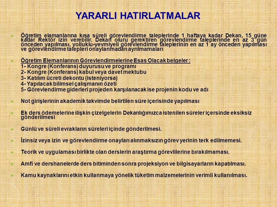 YARARLI HATIRLATMALAR