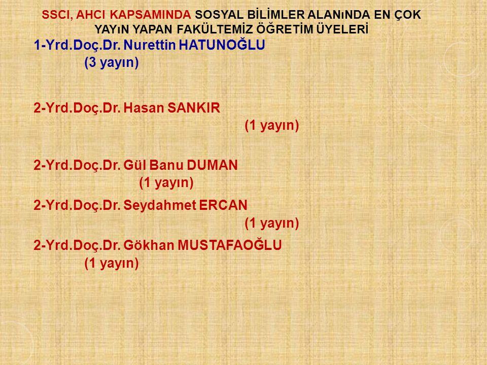 SSCI, AHCI KAPSAMINDA SOSYAL BİLİMLER alanında en çok yayın yapan FAKÜLTEMİZ ÖĞRETİM ÜYELERİ