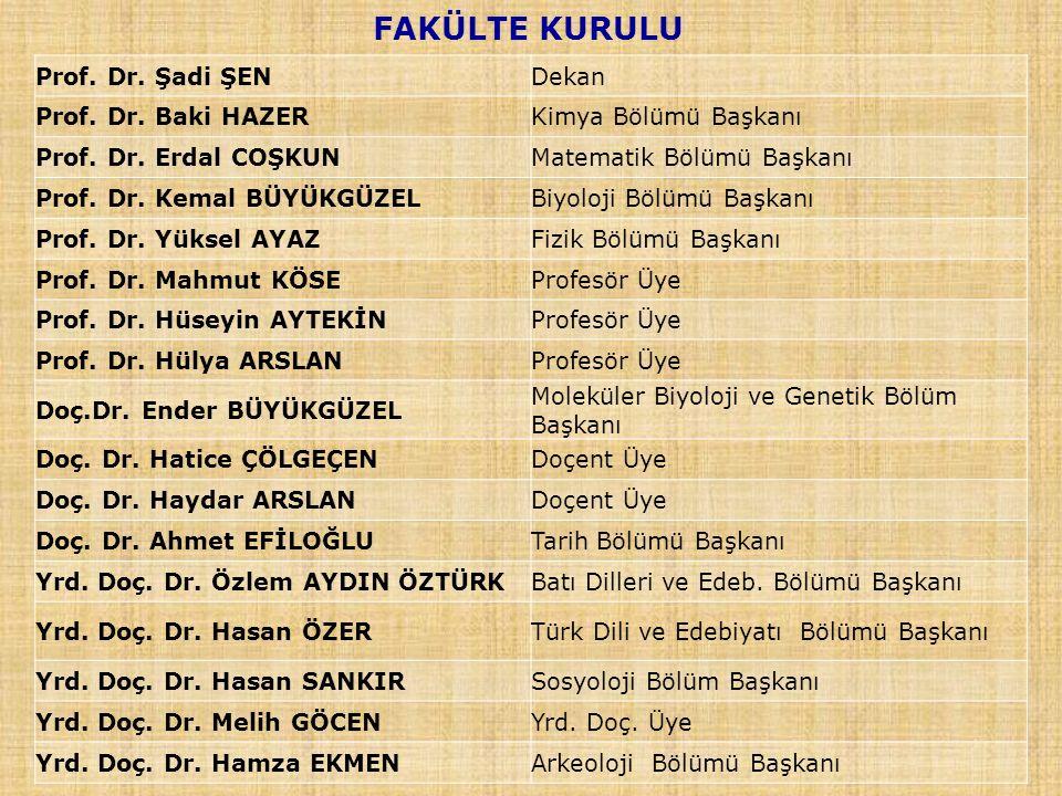 FAKÜLTE KURULU Prof. Dr. Şadi ŞEN Dekan Prof. Dr. Baki HAZER