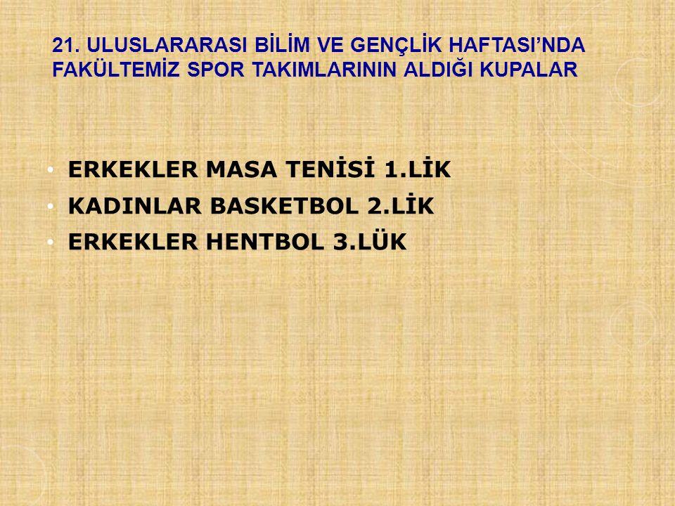 ERKEKLER MASA TENİSİ 1.LİK KADINLAR BASKETBOL 2.LİK