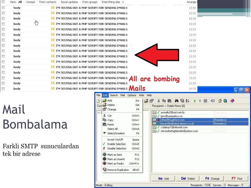 Mail Bombalama Farkli SMTP sunuculardan tek bir adrese